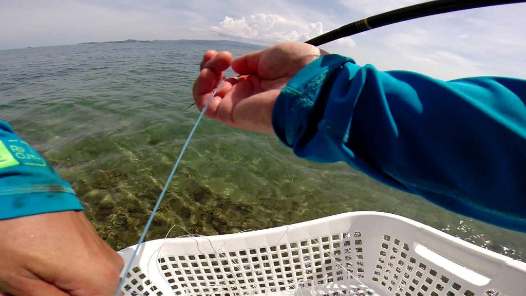 Double handed retrieve with a simple stripping basket made from a laundry basket